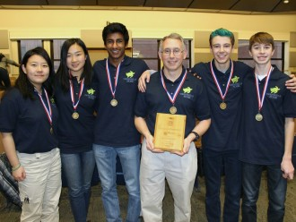 From left: Emily Wang, Beatrice Chen, Bharath Yalavarthi, coach Deano Smith, Sebastian Adams, and Matthew Karpenko.